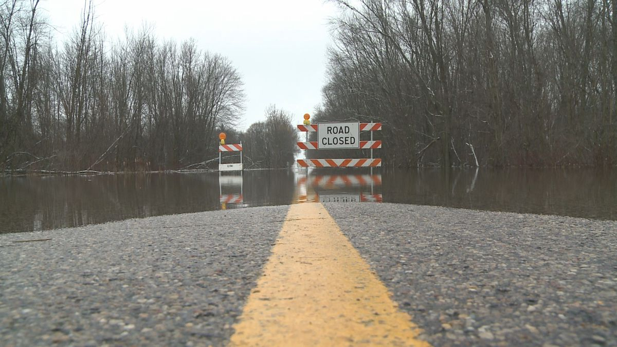 Roads in Mid-Michigan are flooded after a rain/ice storm over the weekend.
