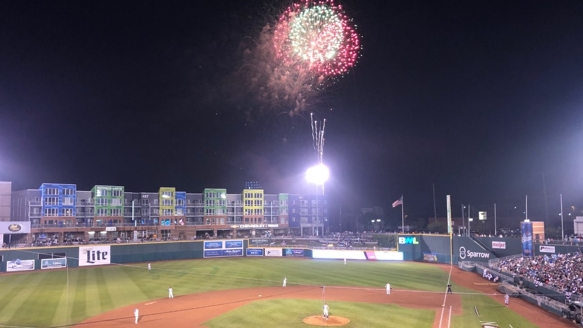 The Lansing Lugnuts set off a fireworks show for fans after the game.