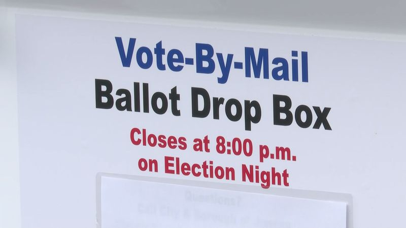 Vote-by-mail ballot drop box for the Nov. 3 general election.