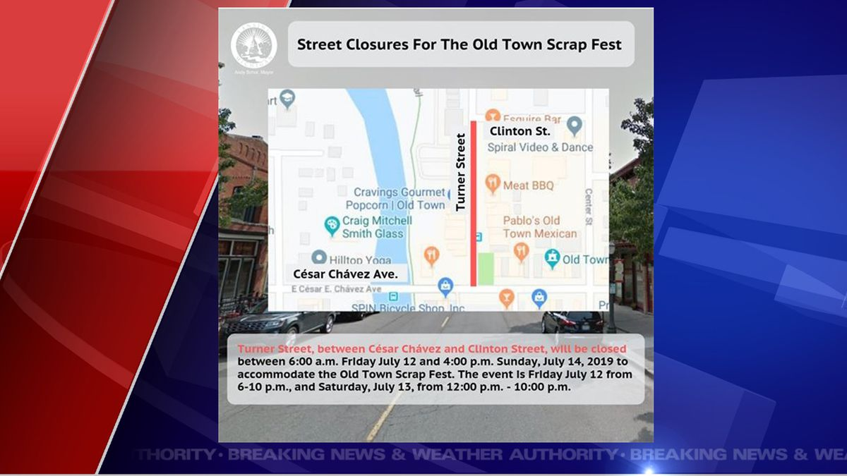 Road closures for ScrapFest. (Source City of Lansing)