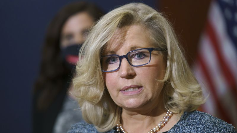 Rep. Liz Cheney, R-Wyo., the House Republican Conference chair, speaks with reporters following...
