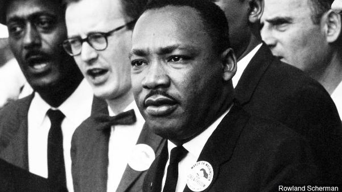 Dr. Martin Luther King, Jr. is present at the Civil Rights March in Washington D.C. on August 28, 1963.