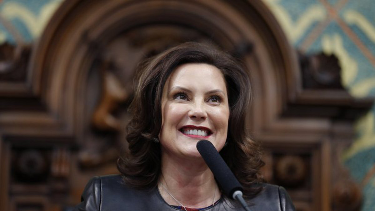 FILE - In this Jan. 29, 2020, file photo, Michigan Gov. Gretchen Whitmer delivers her State of...