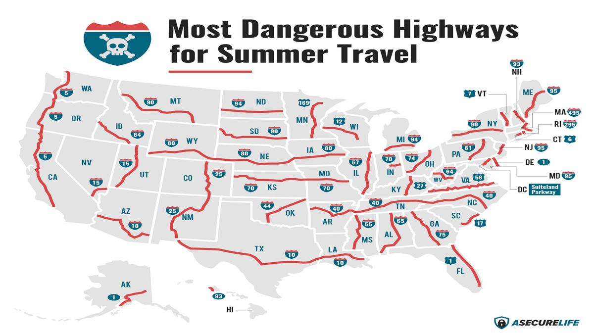 Most dangerous highways for summer travel. (Source: ASecureLife.com)