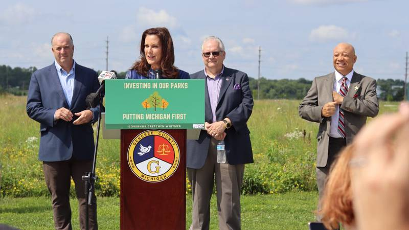 Gov. Gretchen Whitmer joined Congressman Dale Kildee and Flint Mayor Sheldon Neeley at Chevy...