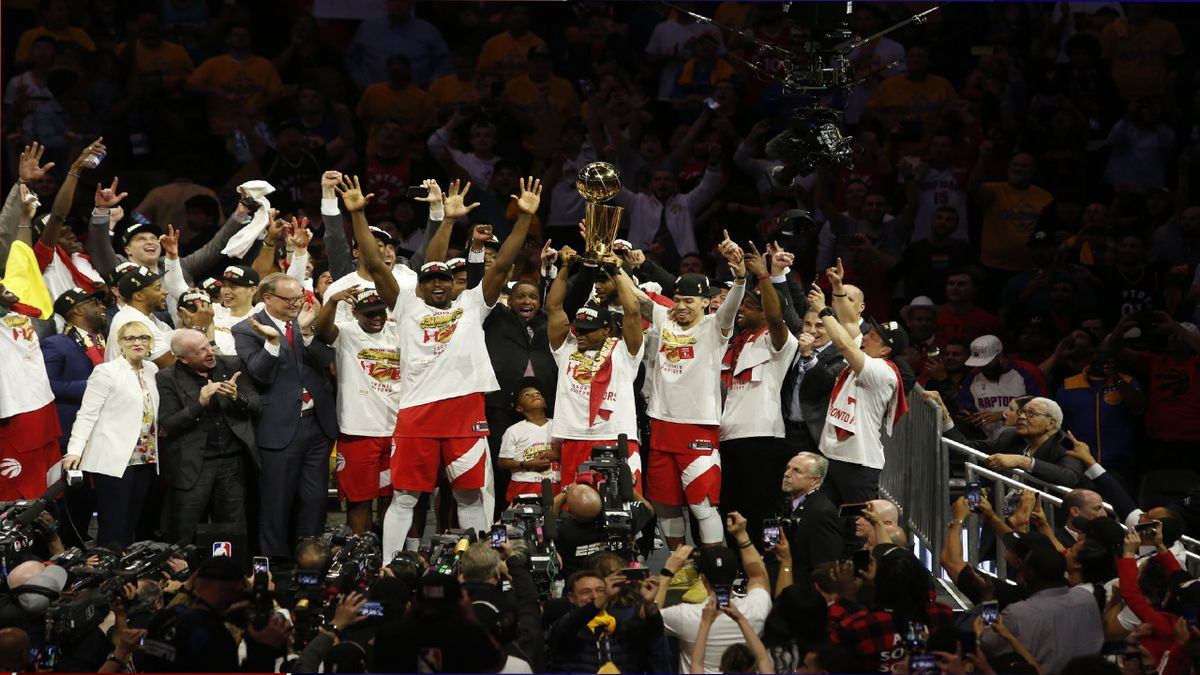 The Toronto Raptors celebrate winning first NBA Championship after defeating the Golden State Warriors in Game 6 of basketball's NBA Finals, Thursday, June 13, 2019, in Oakland, Calif. (Source: NBA/Raptors)