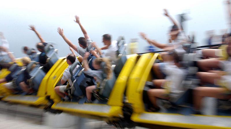 Riders fly by on the Millennium Force at Cedar Point Amusement Park in Sandusky, Ohio.