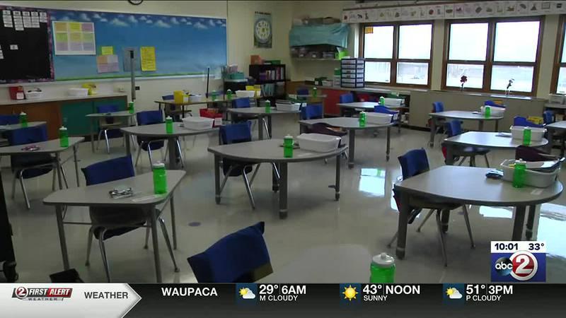 Empty classroom in Green Bay school