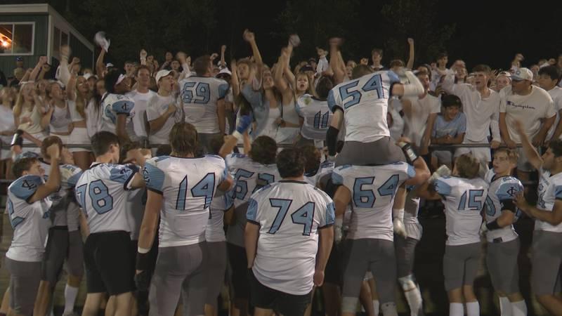 Lansing Catholic Celebrates 30-21 Win over Williamston