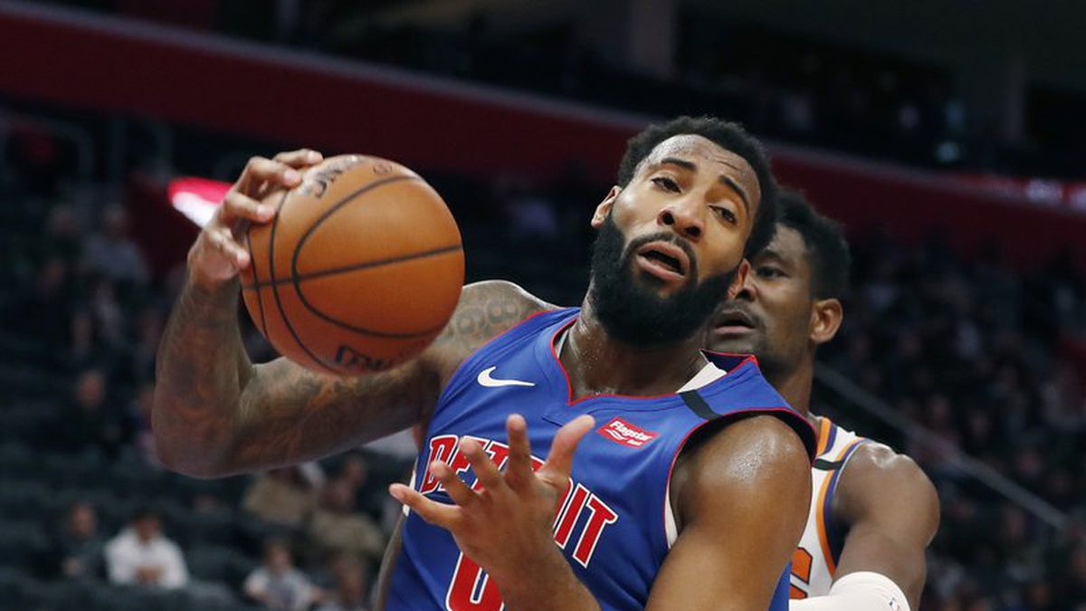 Detroit Pistons center Andre Drummond pulls down a rebound during the second half of an NBA...