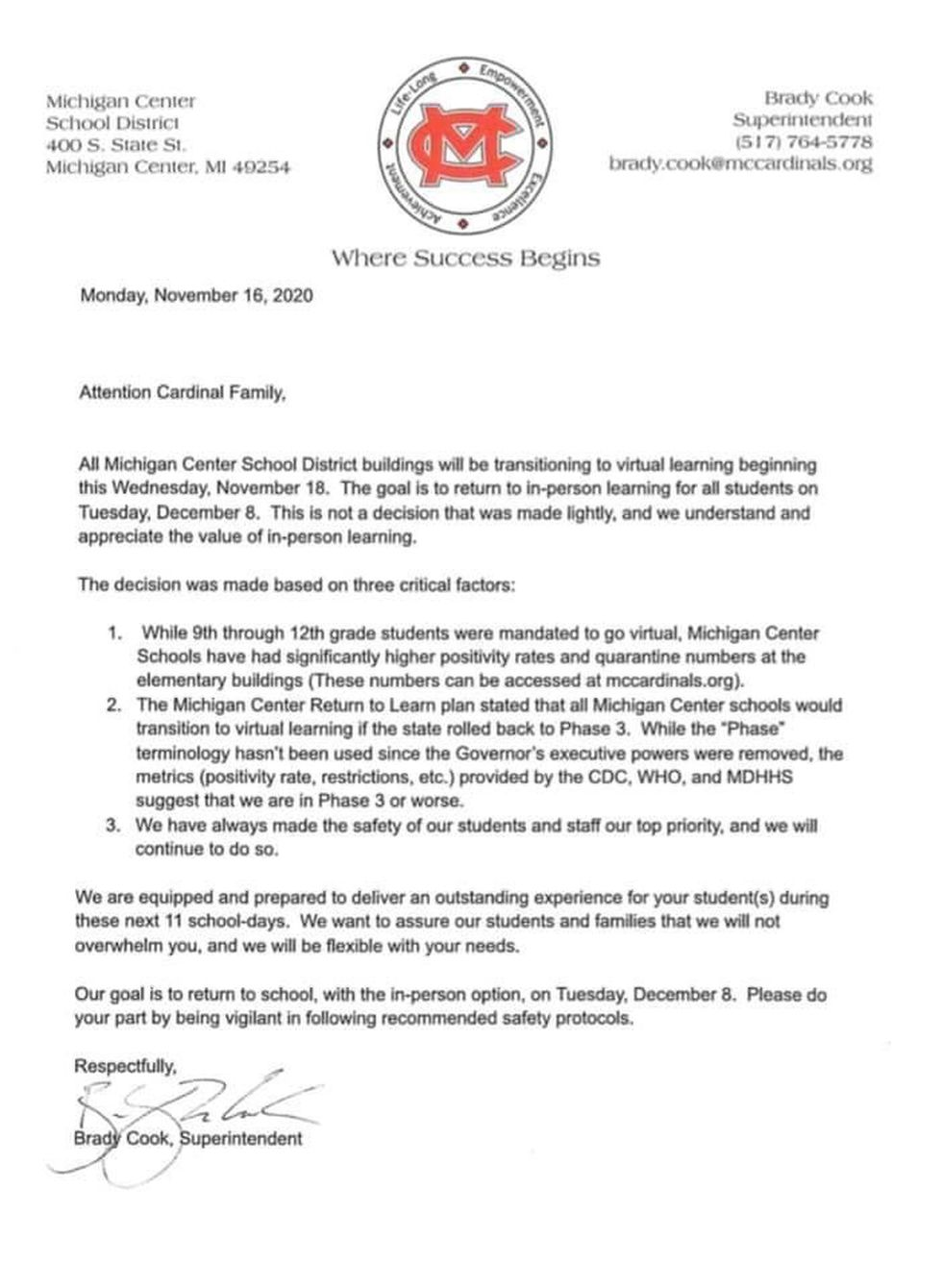 Michigan Center provides official letter.