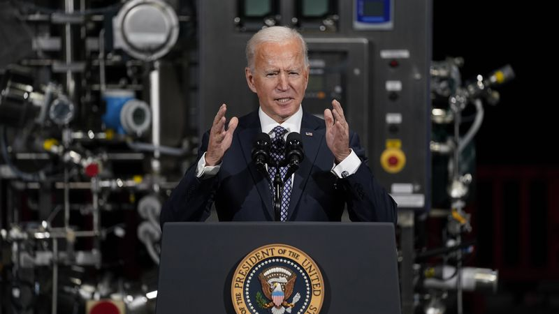 In this Feb. 19, 2021, file photo, President Joe Biden speaks after a visit to a Pfizer...