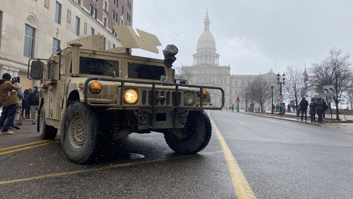 The National Guard arrived just before noon on Sunday, Jan. 17 as protests were anticipated...
