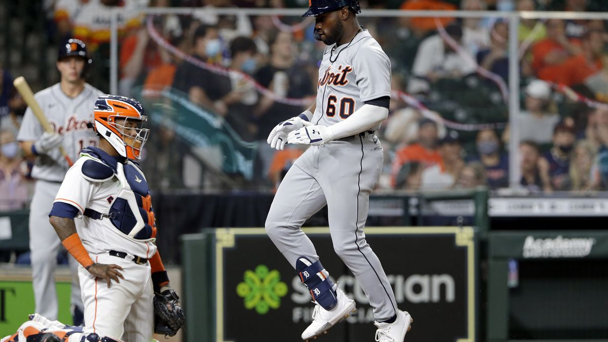 Detroit Tigers' Akil Baddoo (60) reacts as he crosses home plate on his home run Monday, April...