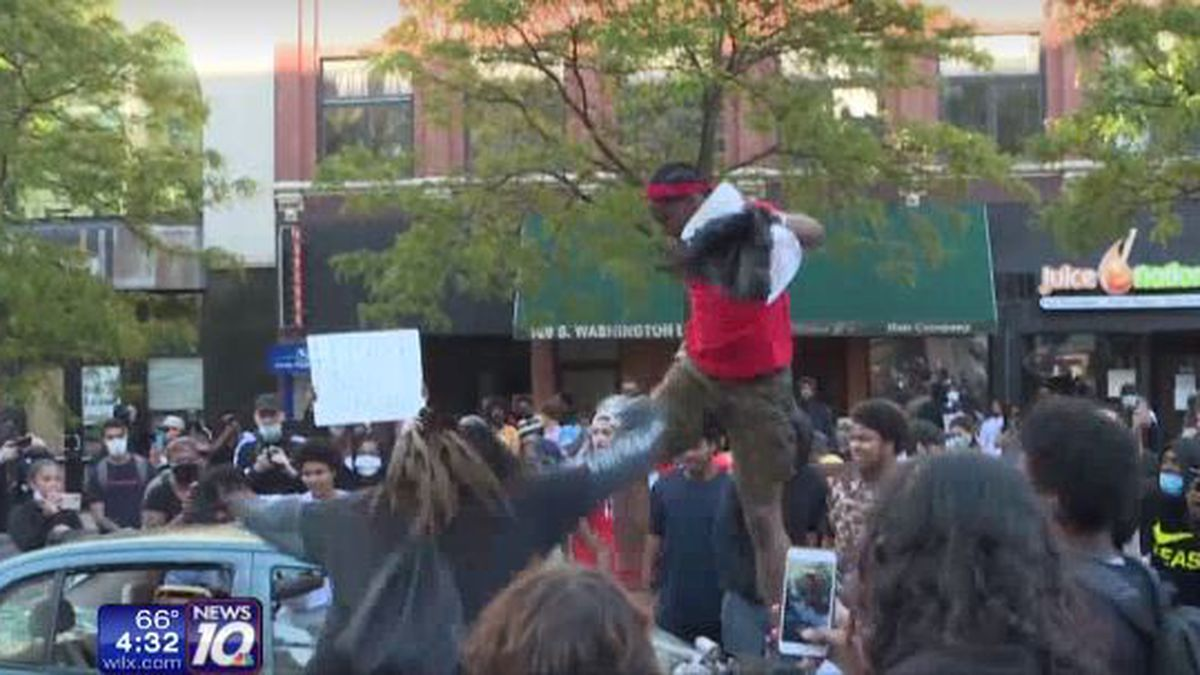 Protests seeking justice for George Floyd, a man killed while in police custody, turned violent Sunday (May 31, 2020) night in Lansing.