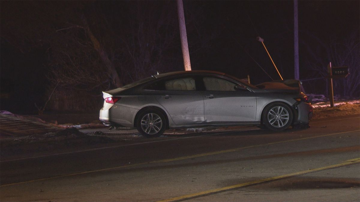 Car involved in crash on West Holmes Road on Monday, Nov. 18. (WILX)