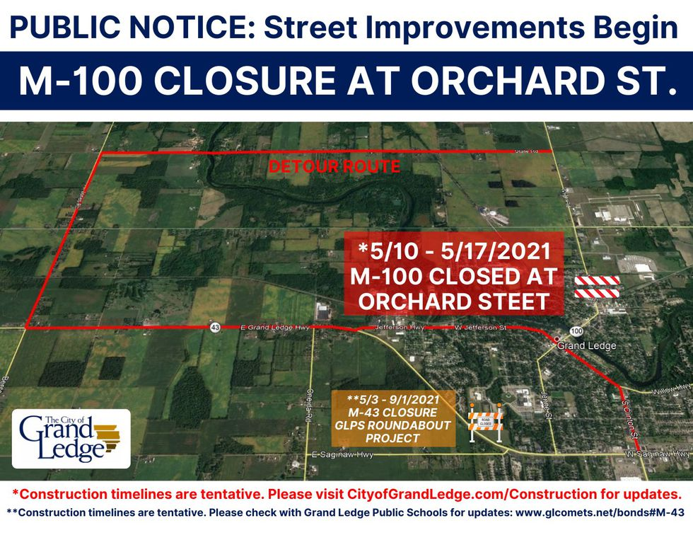 The City of Grand Ledge has closed M-100 at Orchard Street and provided a detour.