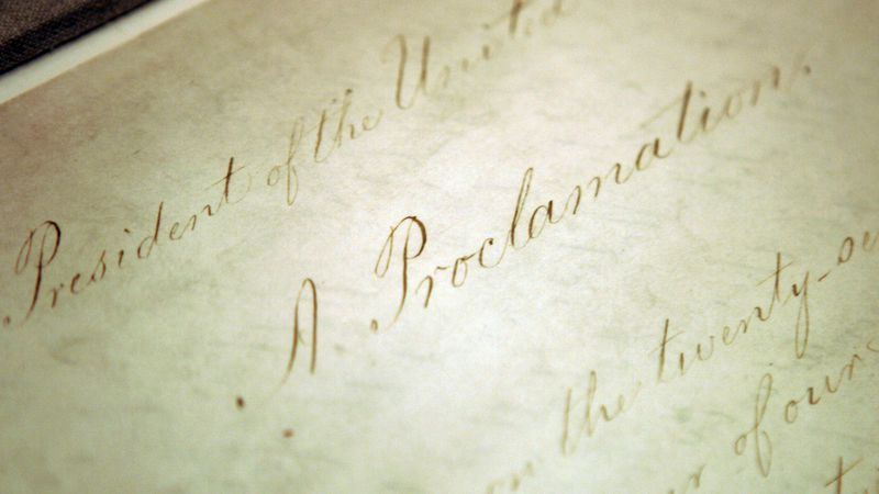 FILE - This Feb. 18, 2005, file photo shows the original Emancipation Proclamation on display...