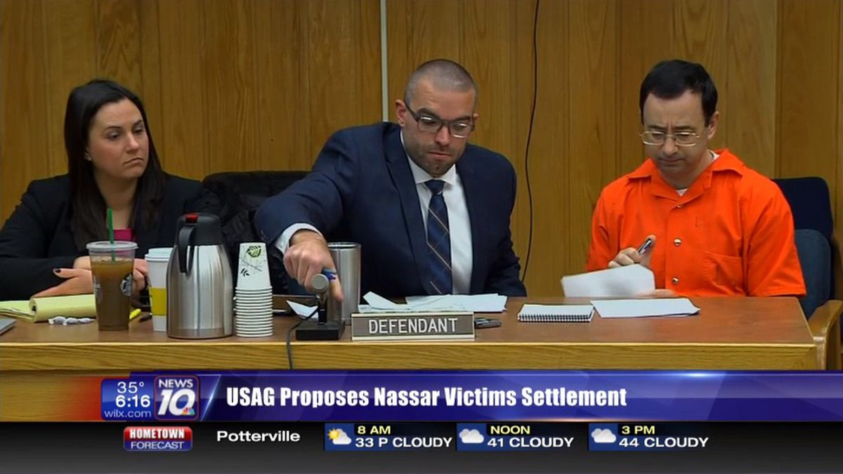 """""""Disgusting,"""" that's how a lawyer for some victims of Larry Nassar describes a proposal to pay off survivors in tiers. (Soure WILX)"""