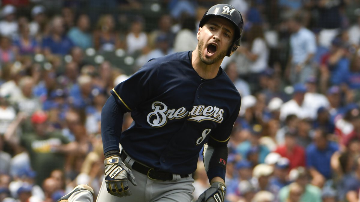 Milwaukee Brewers' Ryan Braun (8) reacts after hitting a two-run home run against the Chicago...