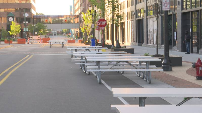 Downtown East Lansing's new open-air dining setup.