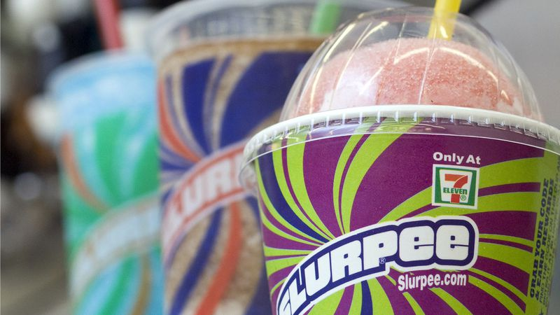FILE - In this Nov. 10, 2010, file photo, Slurpees are displayed at a 7-Eleven store in...