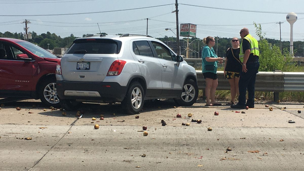 A multi-vehicle accident sent three people to the hospital and apples across US-127 in Lansing, Mich., Wednesday, July 8, 2020.