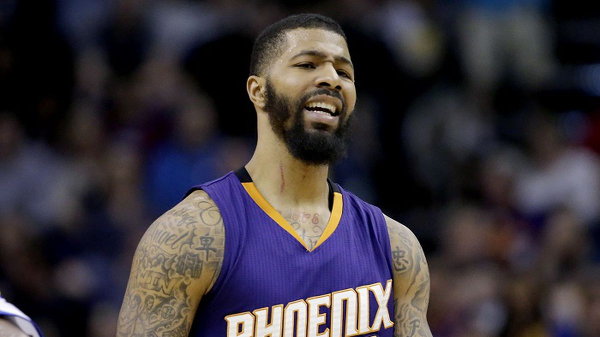 Phoenix Suns' Markieff Morris reacts to a call during the second half of the team's NBA...
