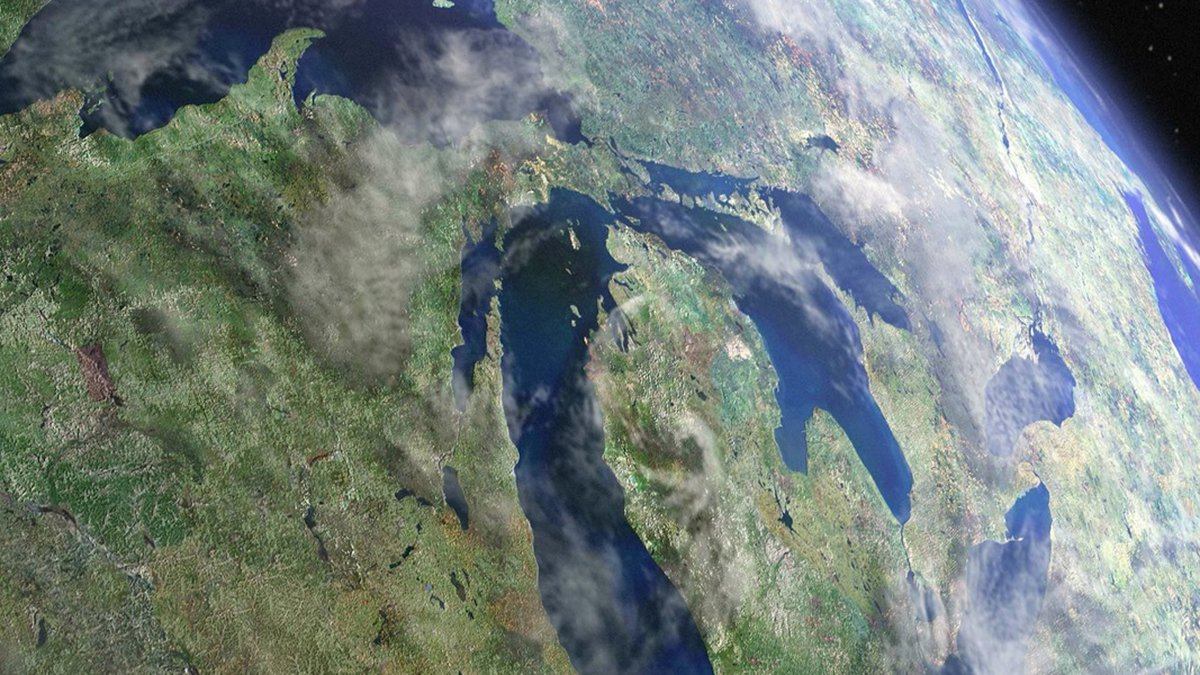 A satellite view of the Great Lakes