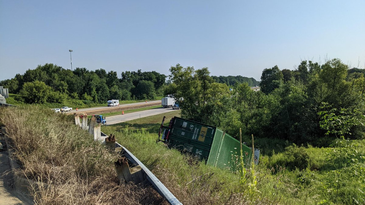 A semi rolled over on eastbound I-69 near Lowell Road.