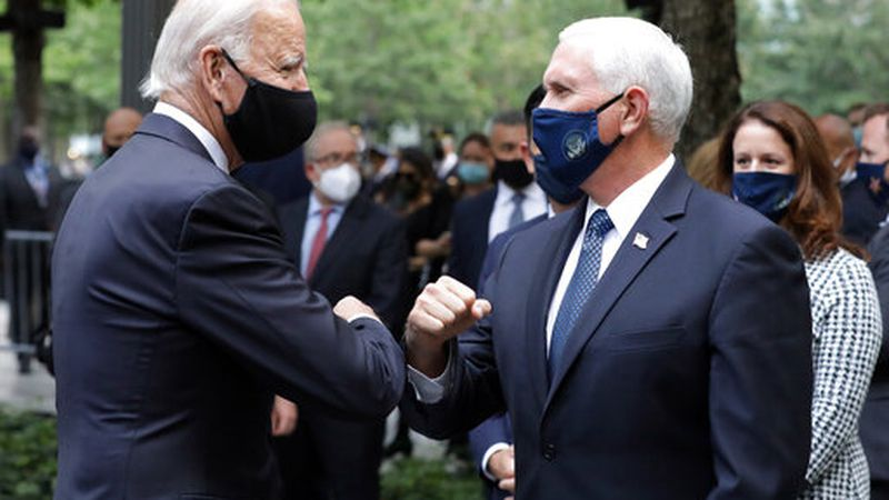 Democratic presidential candidate former Vice President Joe Biden greets Vice President Mike...