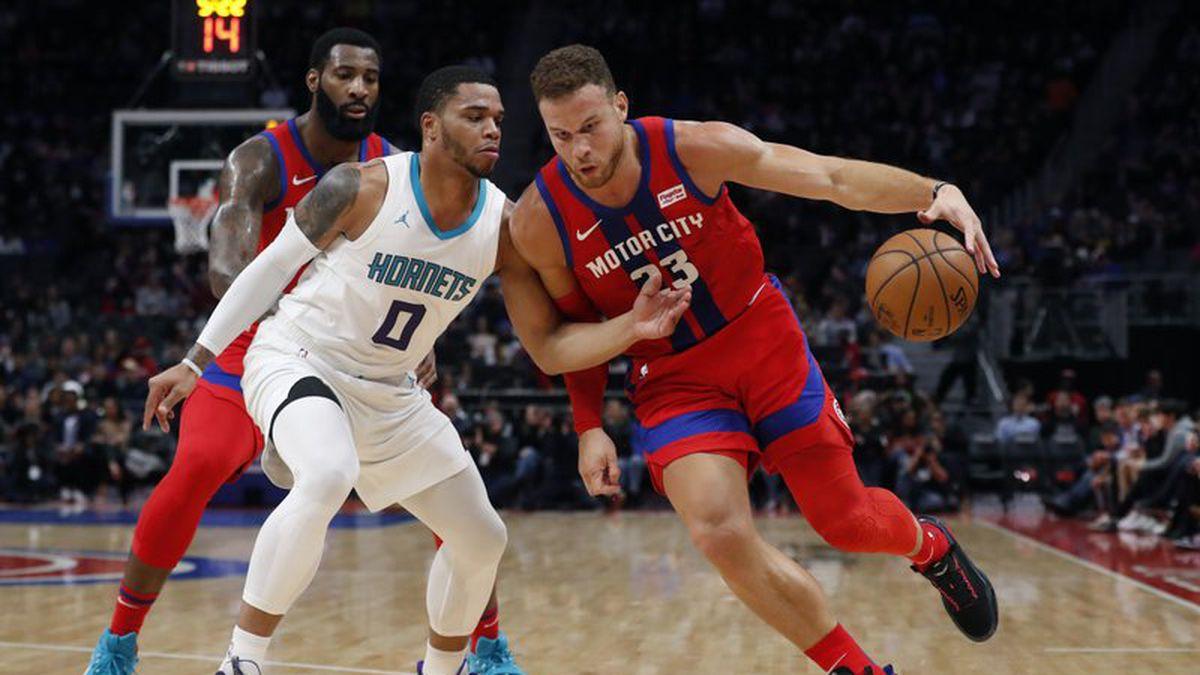 Detroit Pistons forward Blake Griffin (23) drives as Charlotte Hornets forward Miles Bridges...