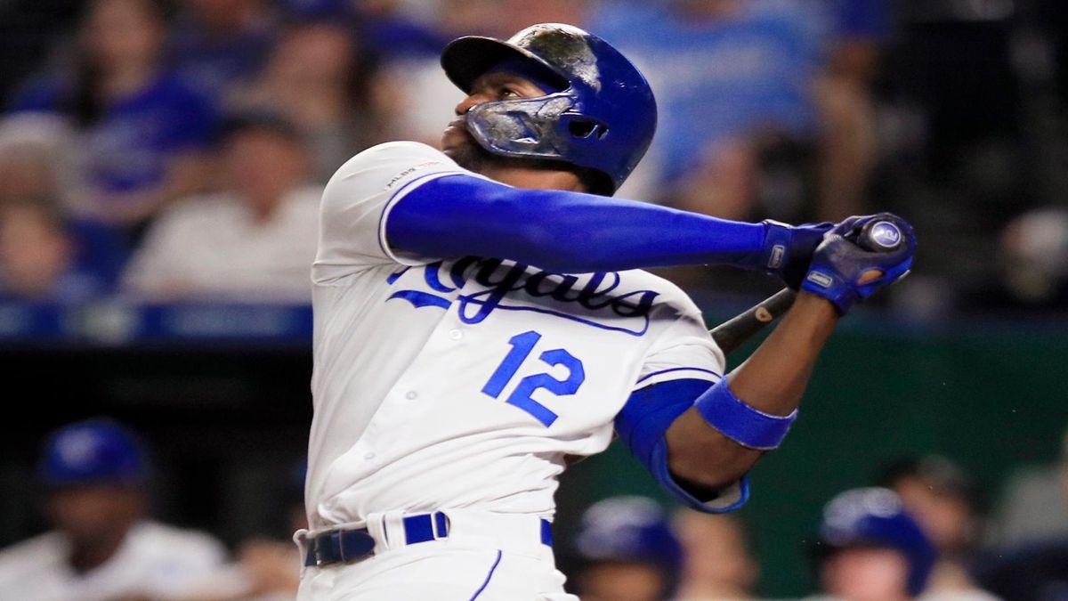 Kansas City Royals designated hitter Jorge Soler follows through on a three-run home run off...