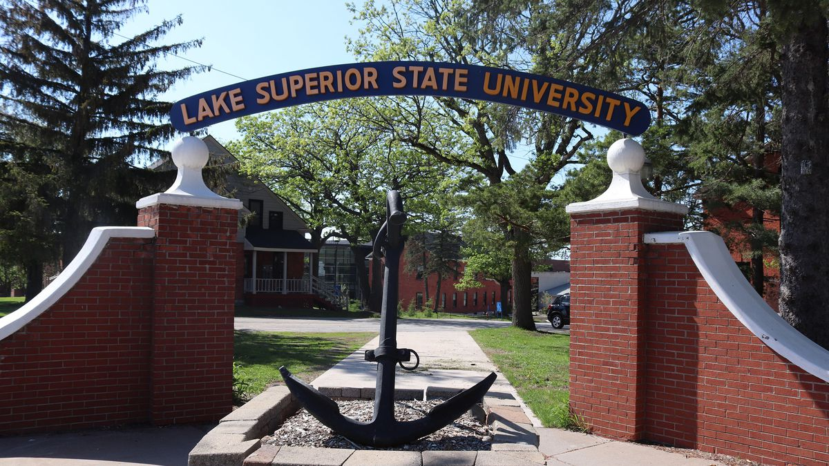 Lake Superior State University sign and anchor symbol.