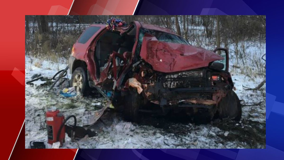 Car involved in crash in Easton Township on Wednesday, Nov. 13. (Ionia County Sheriff's Office)