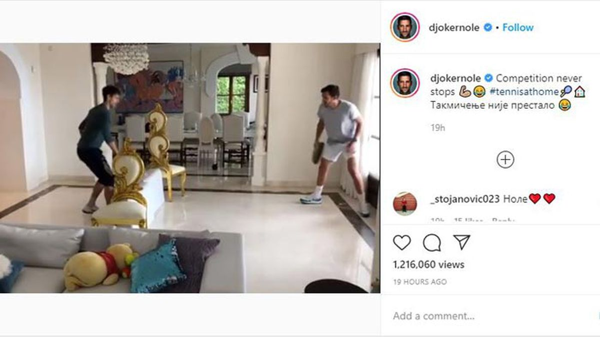 The Djokovic brothers set up a makeshift court, using fry pans for racquets and furniture to make a net. (Source: Novak Djokovic, Instagram)