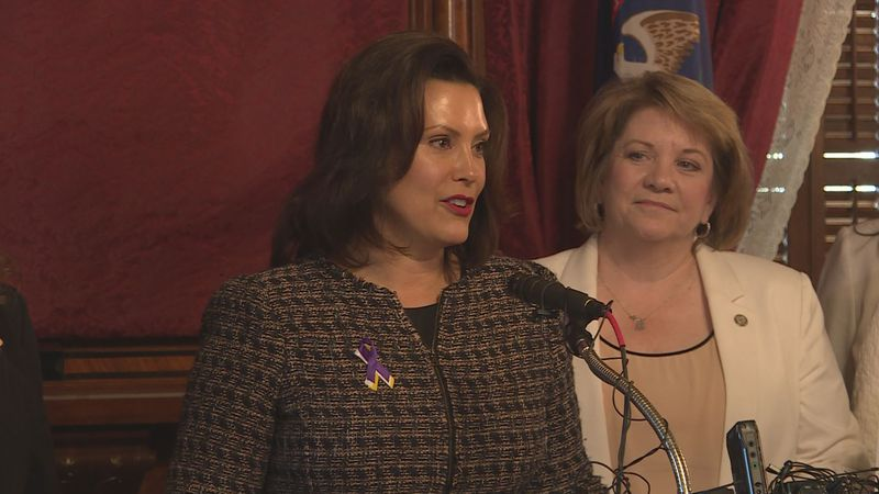 Gov. Whitmer speaks at the 100th commemoration of the 19th amendment.