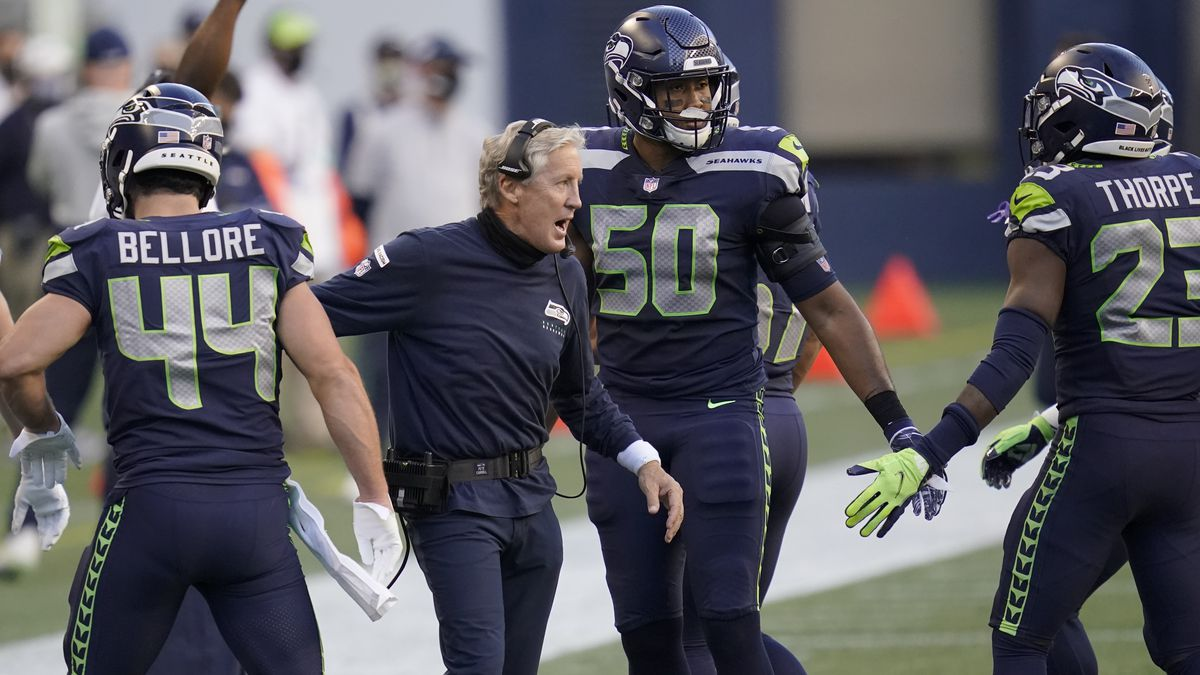 Seattle Seahawks head coach Pete Carroll celebrates after a touchdown against the New England...