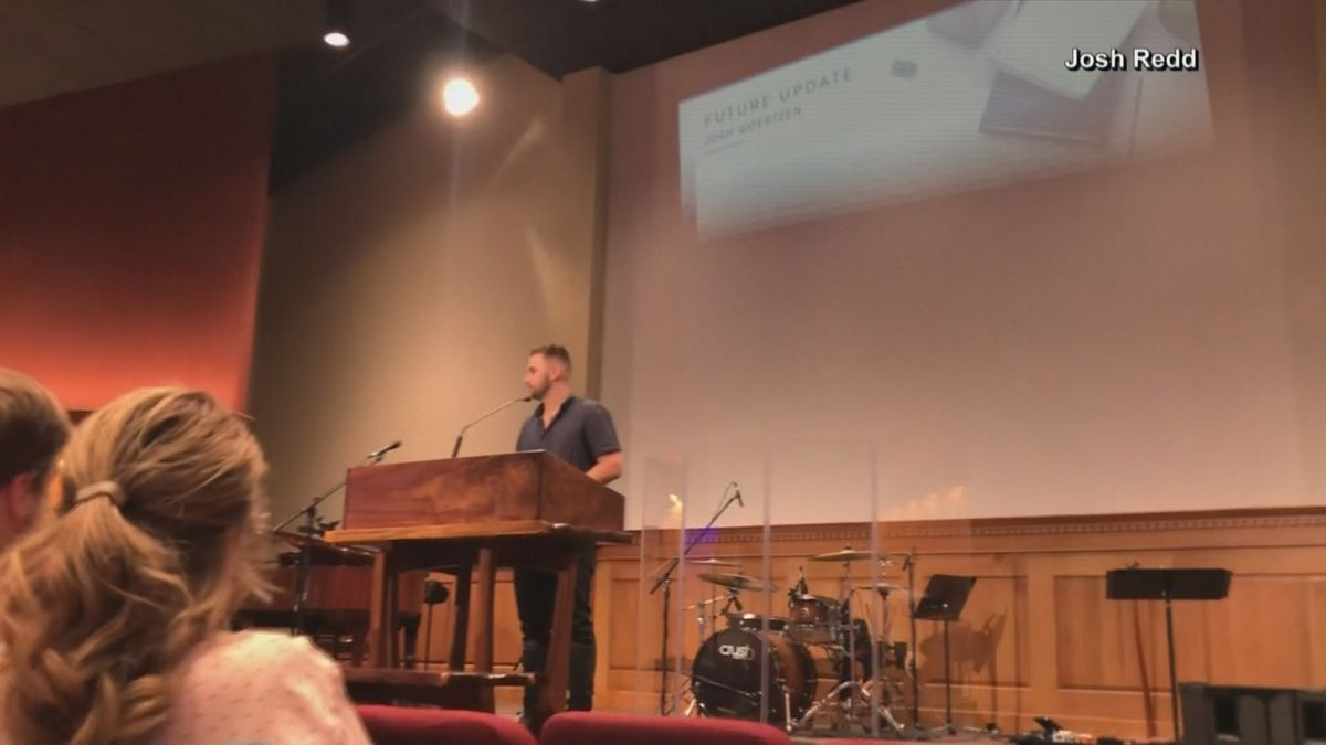 Josh Redd was recording the church service at Grave Bible Church in Hutchinson on Sunday when the magnitude 4.5 earthquake struck. (Source: NBC)