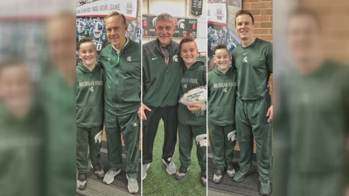 Fraser Hartnell visited the Spartans before their game against Maryland.