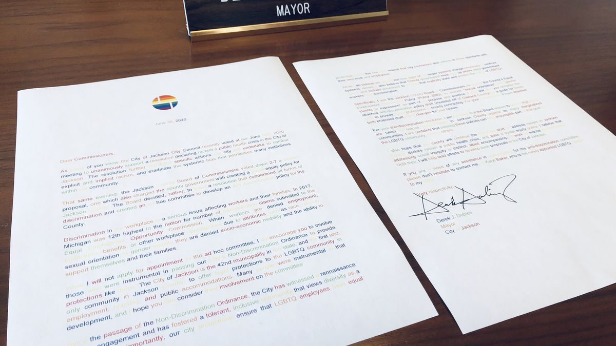 Mayor Dobies delievers an open-letter instructing Jackson County to include sexual orientation and gender identity or expression in protected classes under the county's Equal Employment Policy. (Source: Derek Dobies Office)