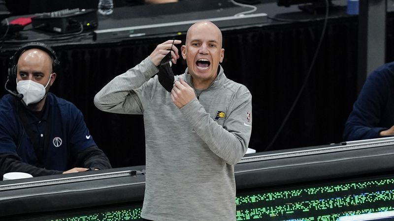 FILE - Indiana Pacers head coach Nate Bjorkgren directs his team during the first half of a...