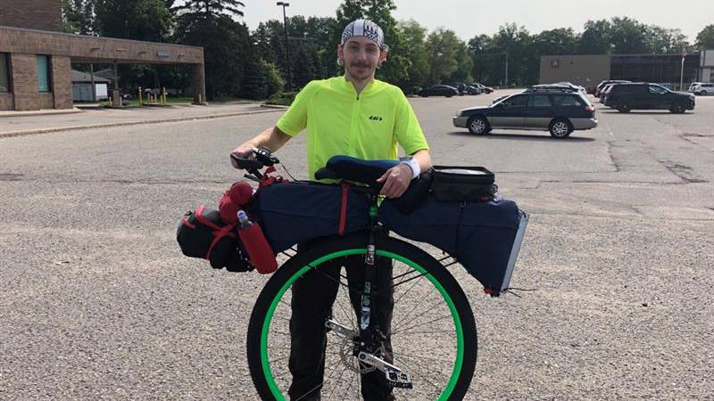 Eaton Rapids resident Christian Hisler wembarks on his 3,600 mile unicycle ride
