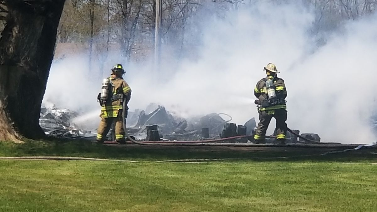 The fire appears to be located near a mobile home park in the area of 5900 Grand River Road in Rives Junction. (Source: WILX)