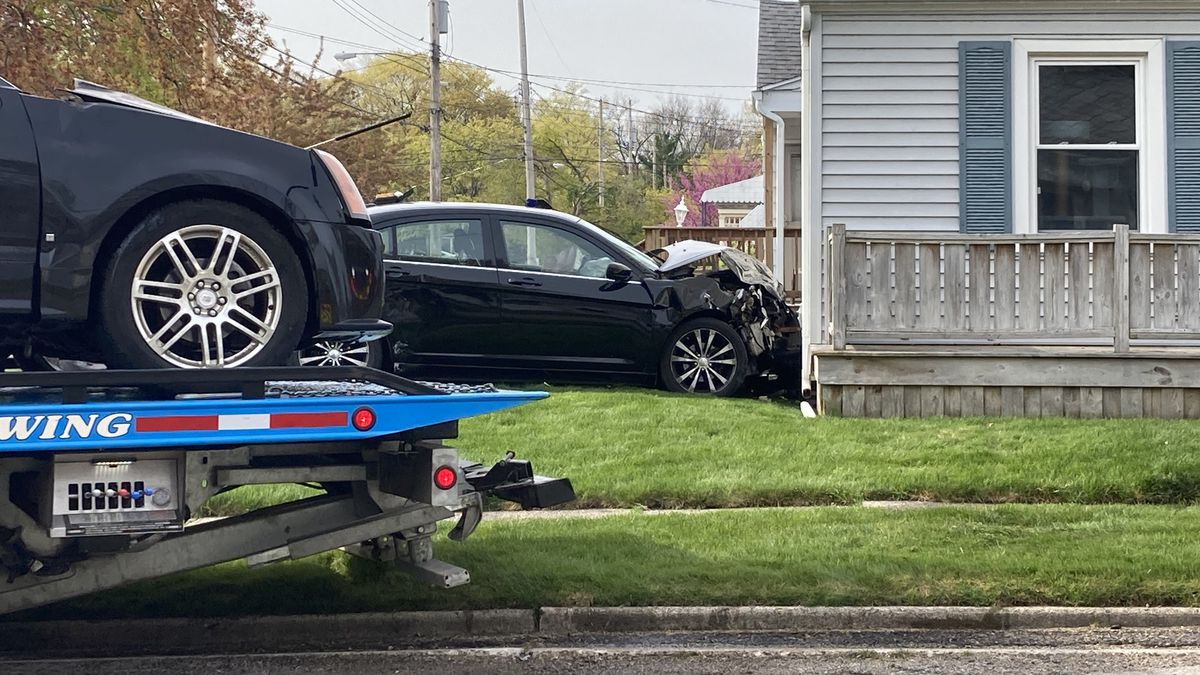 A car crashed into a home on the corner of Kelsey and Marion in Lansing.
