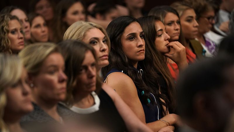 WASHINGTON, DC - JULY 24:  Sexual abuse survivors from the Larry Nassar sexual abuse case,...