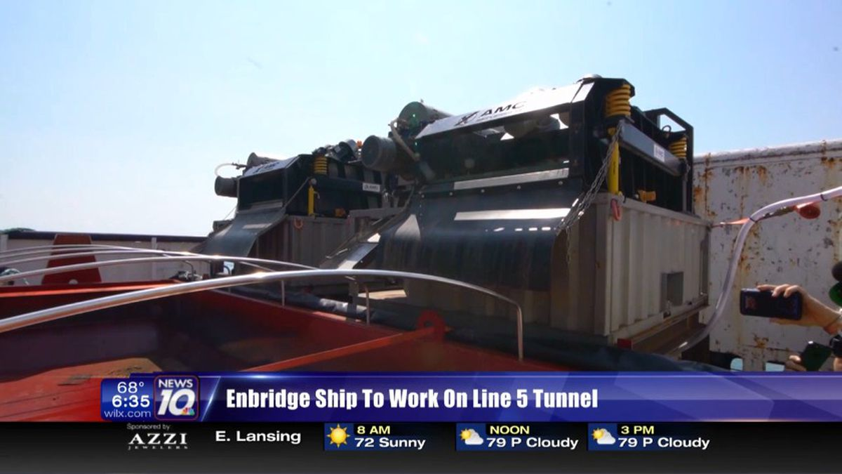 Enbridge debuts ship to work on Line 5. (Source WILX)