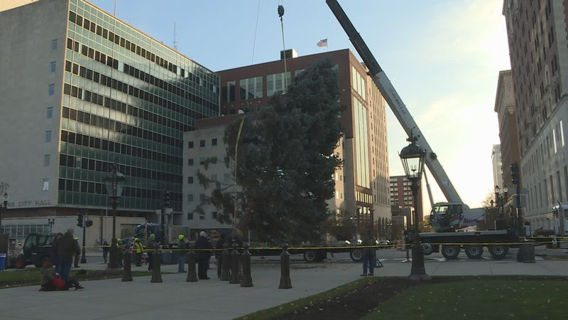 The state tree was delivered to the Capitol Saturday.