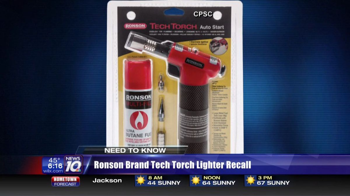 The Ronson Brand Tech Torch Lighter is being recalled for problems turning off. (Source WILX)