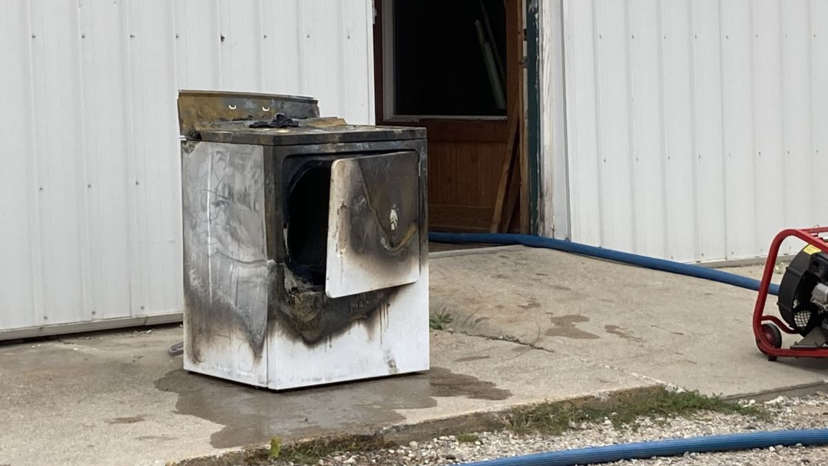 Household dryer after catching on fire in DeWitt